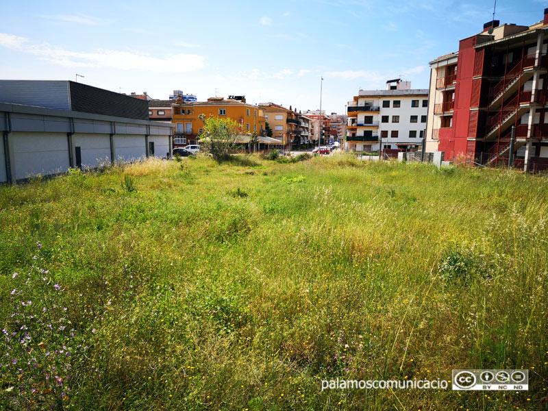 El solar on està prevista la construcció del nou habitatge cooperatiu, a l'Avinguda de Catalunya de Palamós.