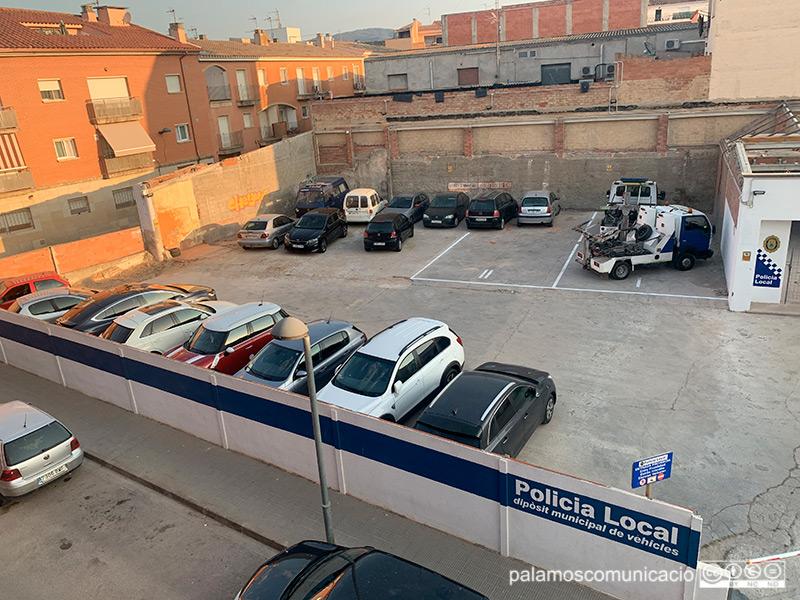 El dipòsit de vehicles de la Policia Local de Palamós, aquest matí.