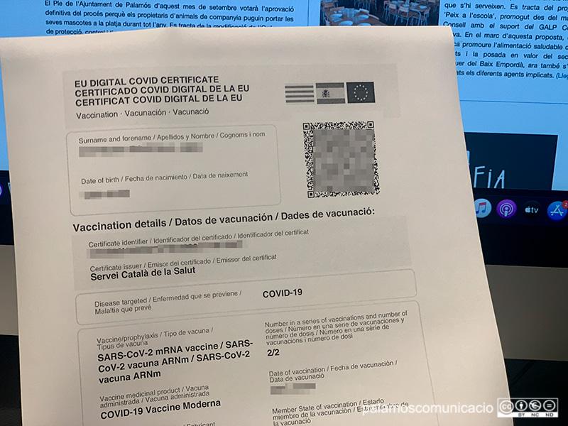 El certificat vacunal es pot obtenir fàcilment a l'APP