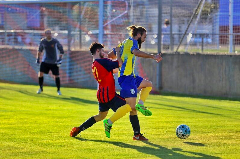 Marc Serramitja, en una imatge d'arxiu, ha fet el primer gol del partit d'avui pel Palamós CF.